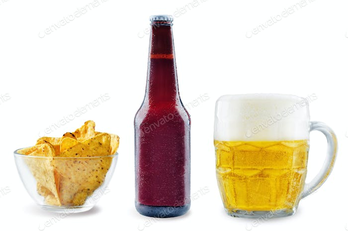 Light beer with corn chips