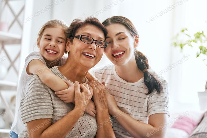 girl, her mother and grandmother