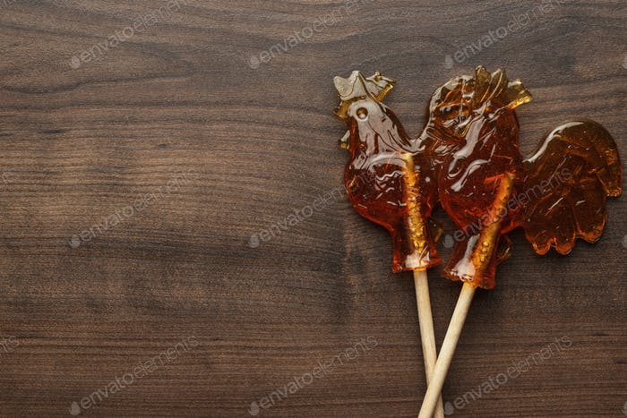 Sugar Lollipop Rooster Shaped