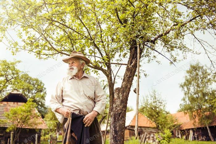 Man with rake