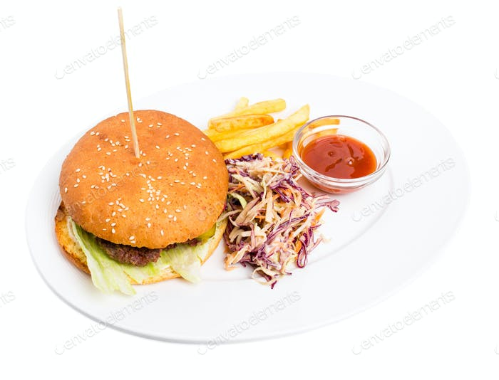 Delicious lamb burger with french fries.