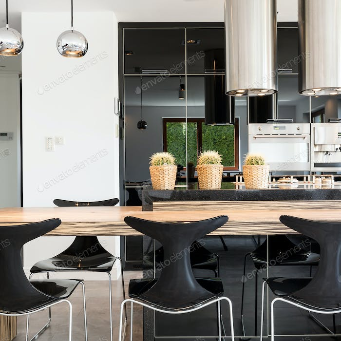 Functional modern kitchen and dining room