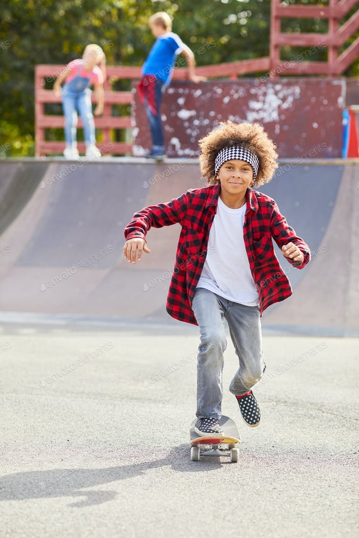 Boy riding on skateboard