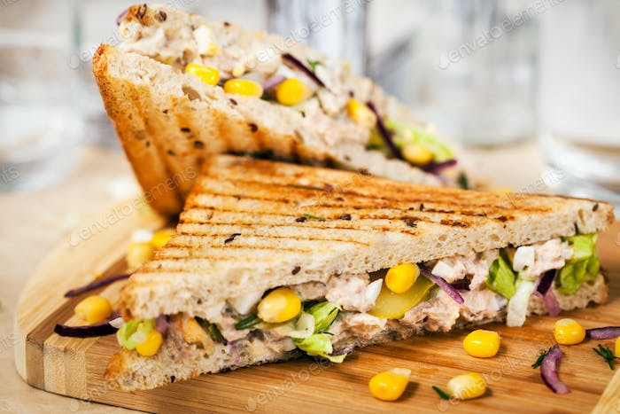 Homemade tuna sandwich, close-up, selective focus