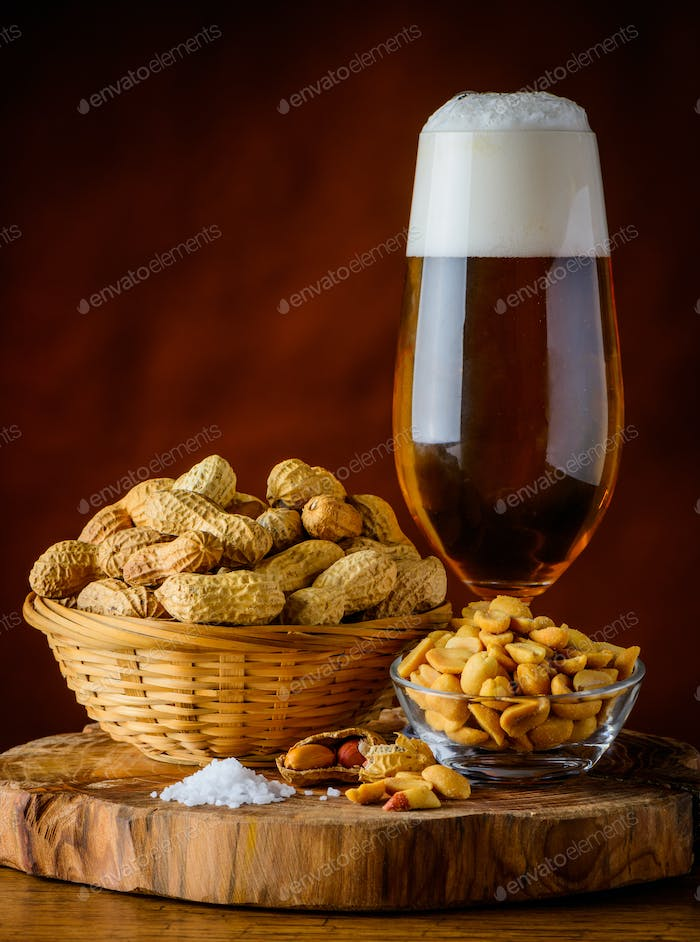 Glass Beer and Peanuts