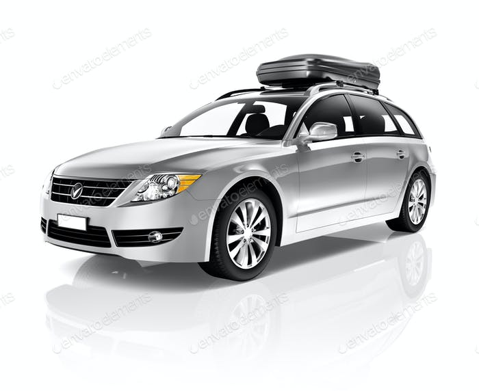 Studio Shot Of Three-Dimensional White Sedan Family Car