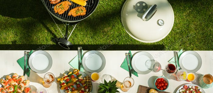 Table with barbecue food