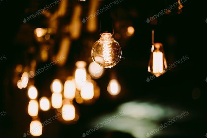 vintage light bulbs in bar