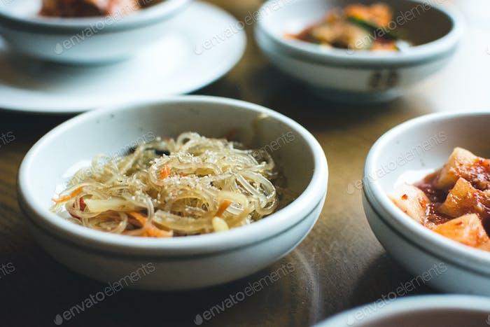 Korean bowl of noodles in a restaurant
