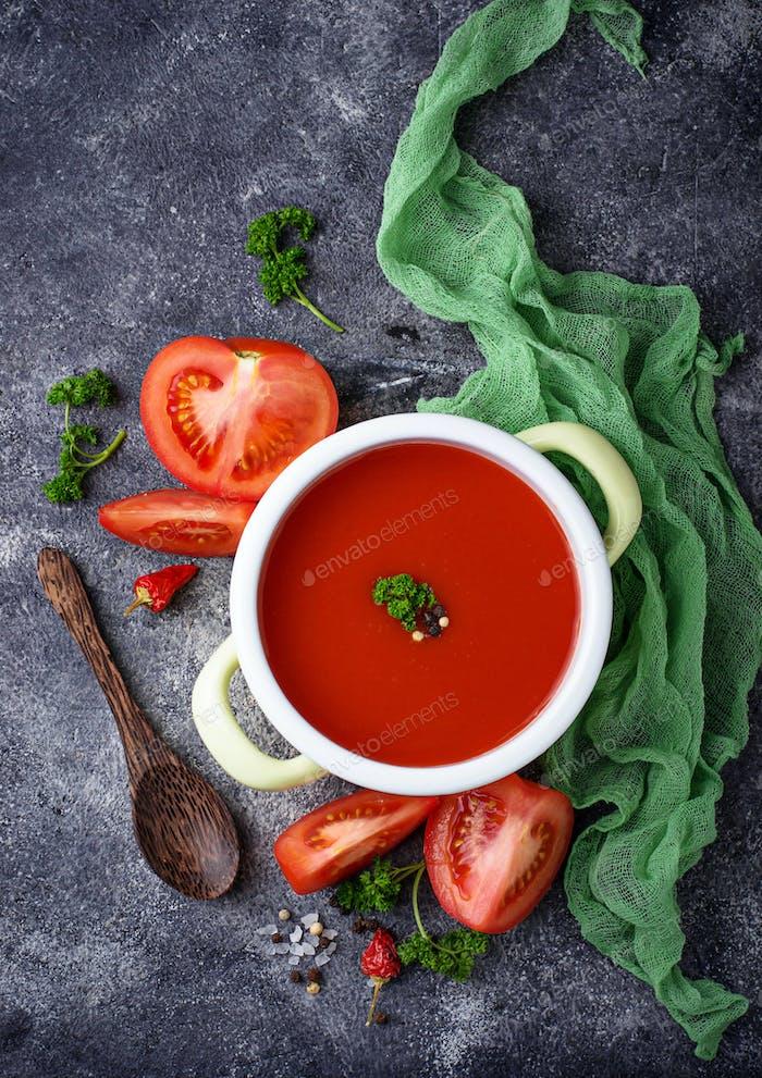 Tomato soup. Healthy vegan food