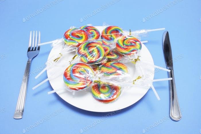 Lollipops on Plate