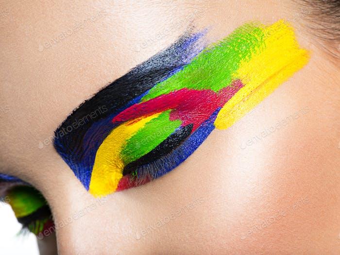 Woman's eye with vivid colors makeup