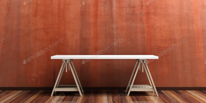 Office desk on a wooden floor. 3d illustration