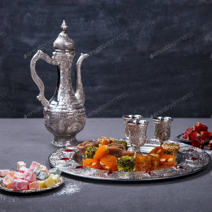 Set of assorted traditional eastern desserts. Arabian sweets