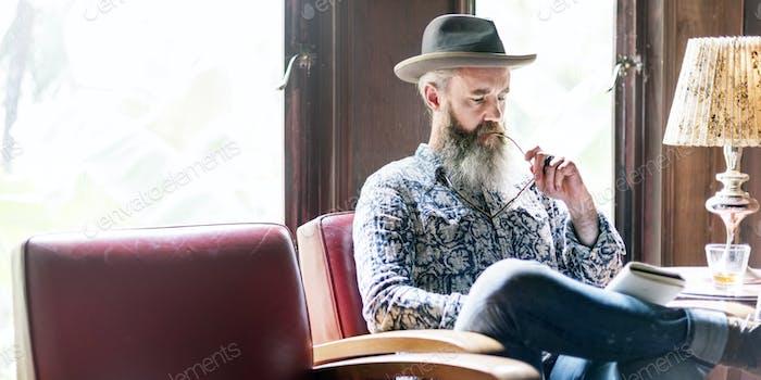 Senior Man Reading Working Liquor Alchohol Bar Concept