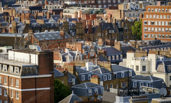 Buildings in cityscape, London, Greater London, England