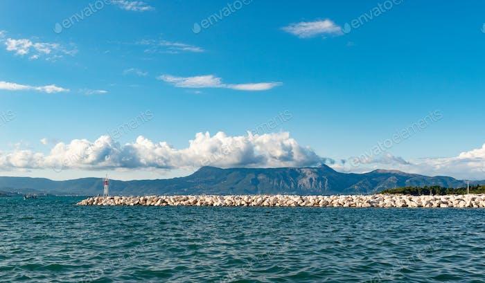 Rocky pier in Ionian sea. Greece