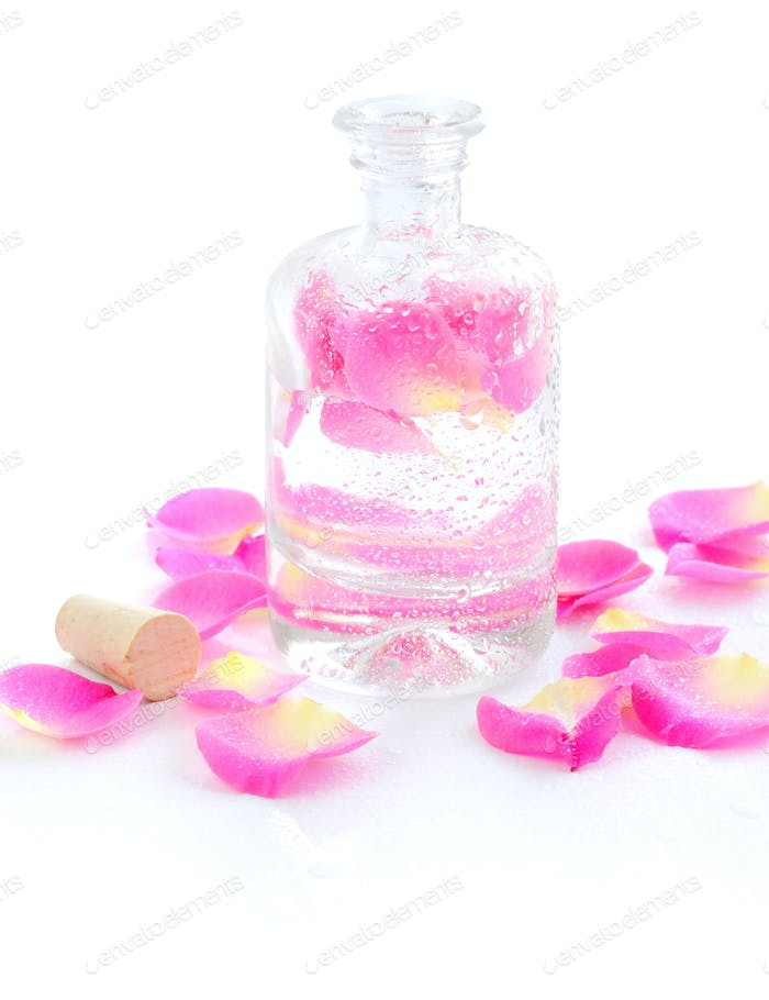 Bottle of essential oil and petal pink rose isolated on white