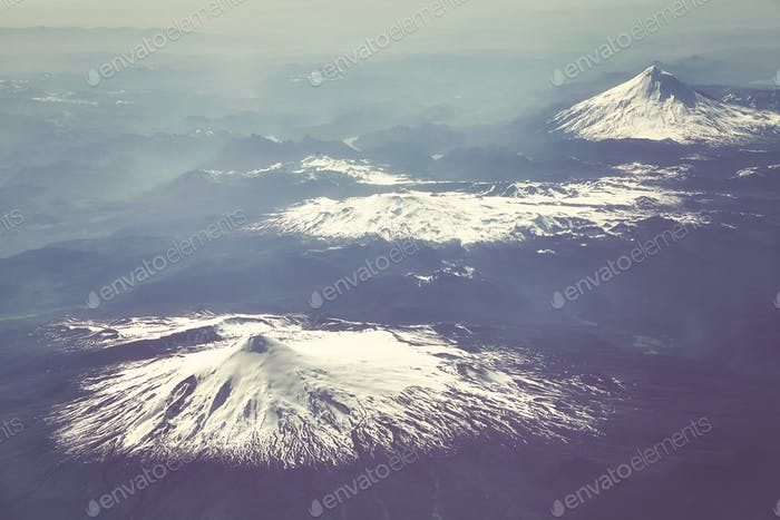 Aerial picture of the Andes mountain range, Chile.