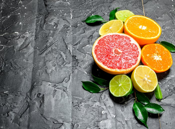 Citrus with leaves.
