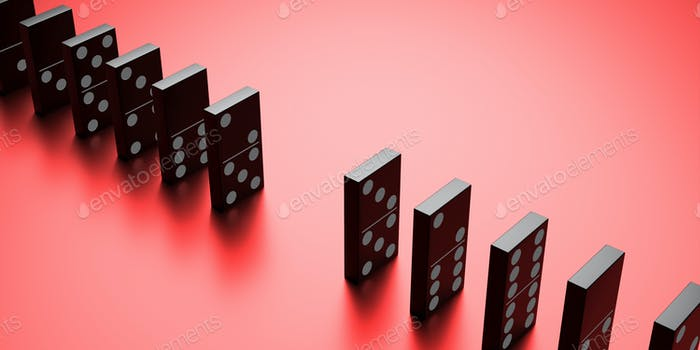 Dominoes game blocks standing on red background. 3d illustration