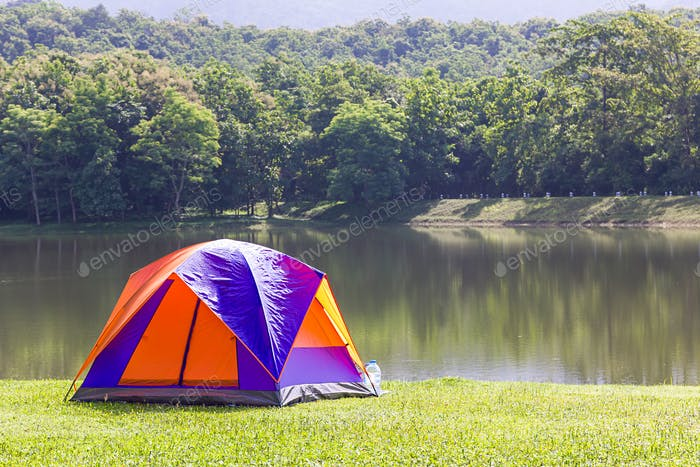 Dome tent camping at lake side _-10