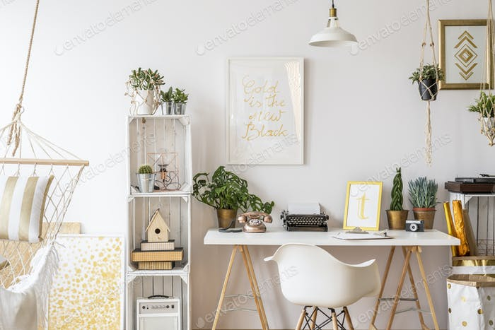 Apartment with gold decorations