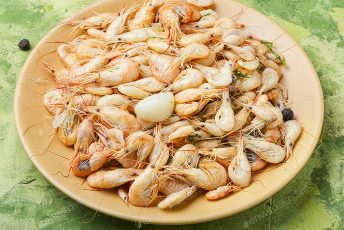 Boiled sea prawns