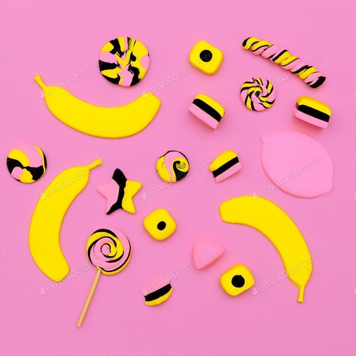 Sweet candy mix. Minimal Flatlay art.