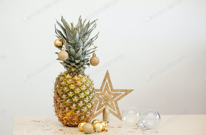 Christmas card with decorated pineapple