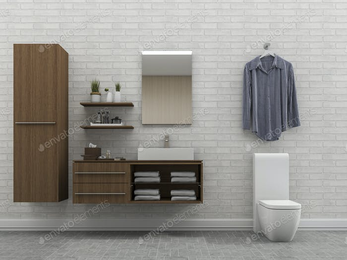 3d rendering bathroom with white wall and shirt