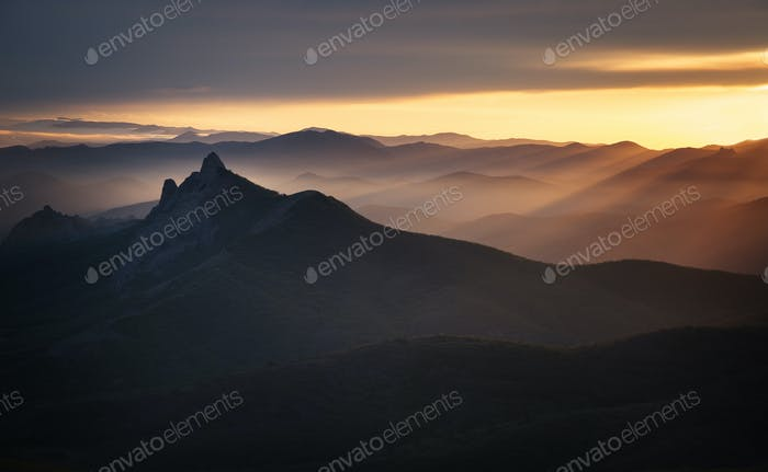 Crimean mountains at sunset