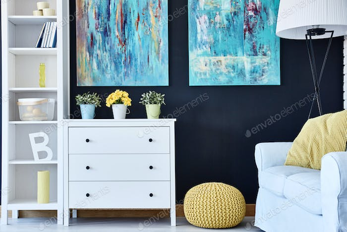Room with navy wall