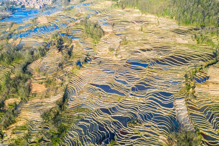 aerial view of beautiful yuanyang terraced fields