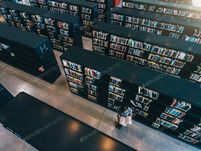 Weibliche Studentin in der Bibliothek Bücherregal Buch lesen