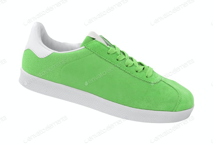 new green sneakers isolated on white