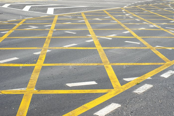 """""""Wafer"""" road marking on intersection at town."""