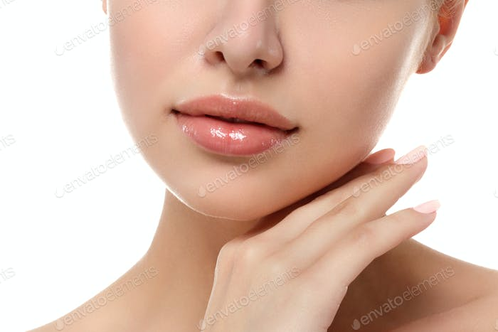 Close up view of young beautiful woman face