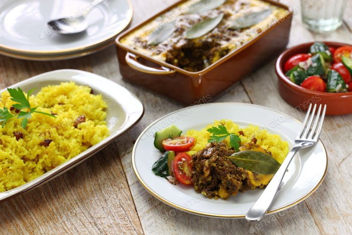 bobotie and yellow rice, south african cuisine.