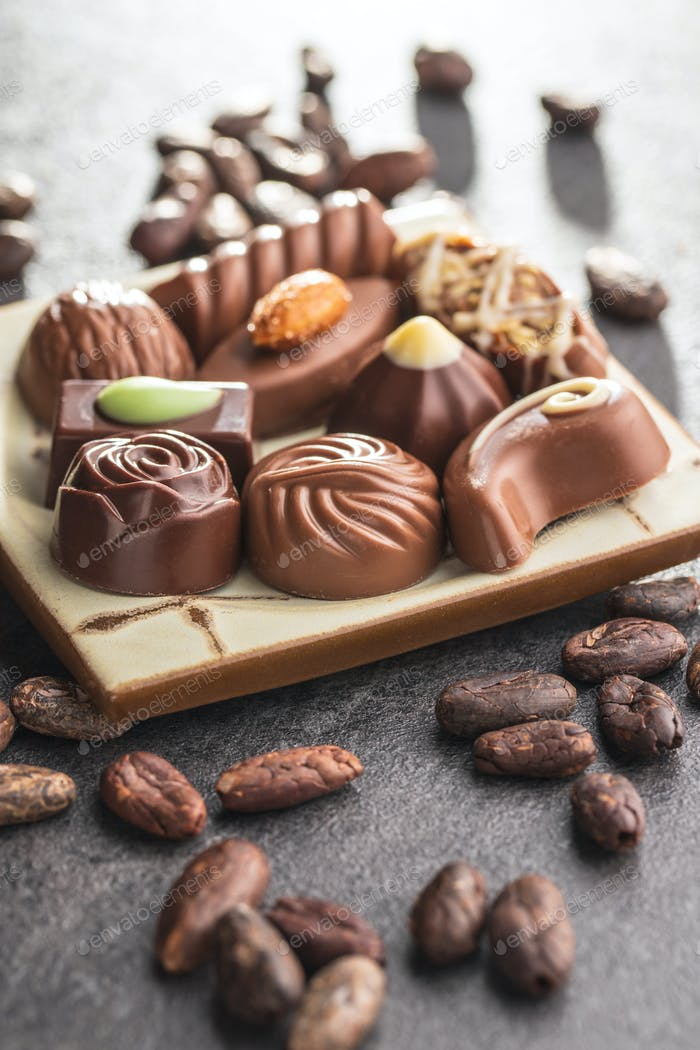 Mixed belgian pralines. Chocolate truffles.