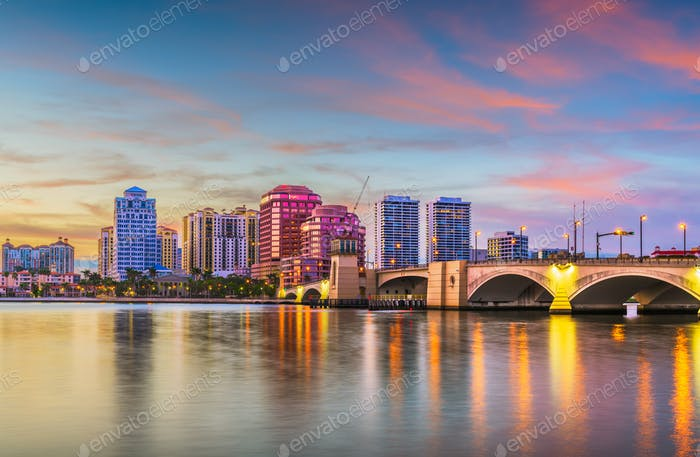 West Palm Beach, Florida, USA downtown skyline