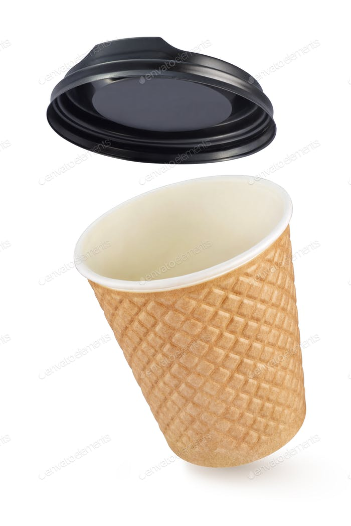 Corrugated fiberboard coffe cup take out isolated on white