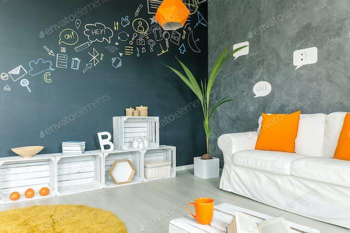 Apartment with white sofa