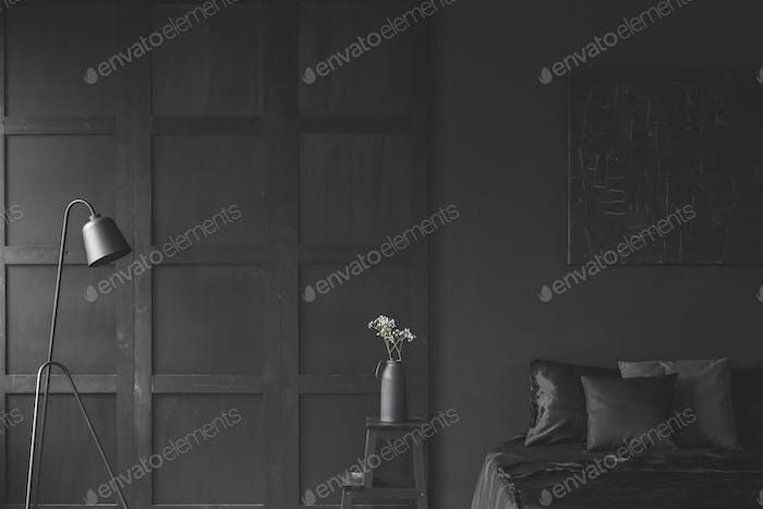 Black dark bedroom interior