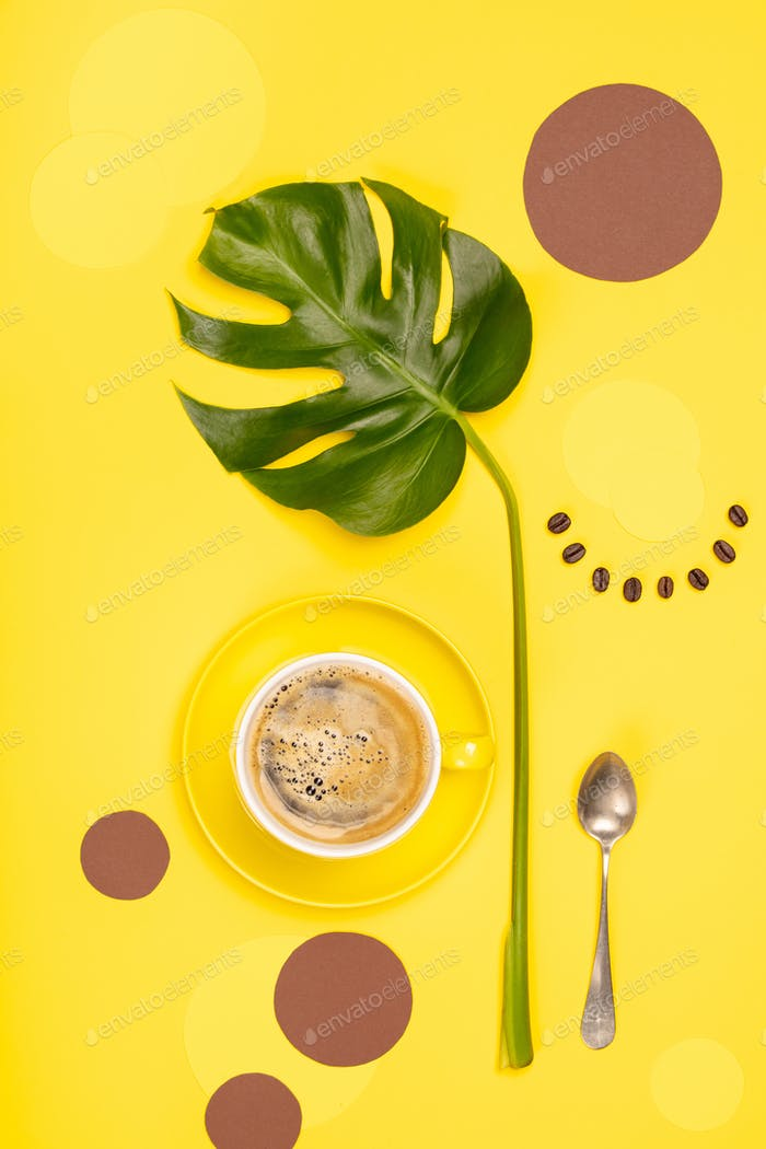 Creative flat lay with cup of coffee and tropical plant