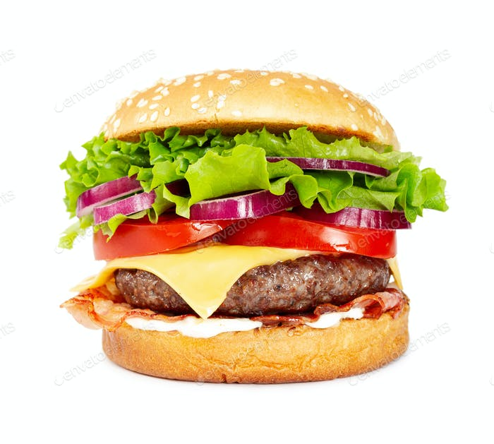 Classic cheeseburger with beef, cheese, bacon, tomato, onion and lettuce