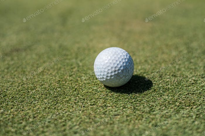 Golf field with white ball