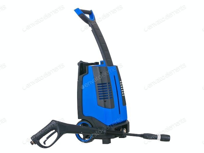 Blauer Druck tragbare Waschpistole unten auf weißem Hintergrund