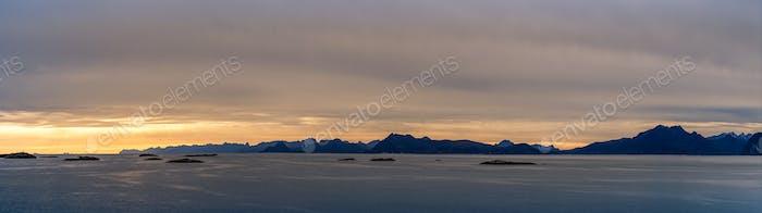 Sunset Panorama Über Lofoten