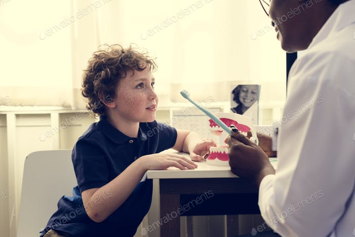 Young boy and his doctor